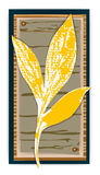 Rectangular tag with a leaf. Stock Photo