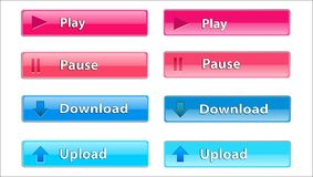 Rectangular transparent button to download and play Royalty Free Stock Images