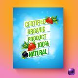 Certified organic product 100 percent natural vector card. Rectangular vertical oriented certified organic product 100 percent natural sign with sky and berries vector illustration