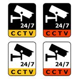 Rectangular 24/7 video surveillance icon. CCTV icon. Four variations. Isolated on white Royalty Free Stock Photo