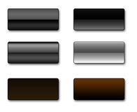 Rectangular web buttons. A set of rectangular web buttons in different shades of black and grey Royalty Free Stock Photos