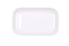 The rectangular white dish on white Stock Image