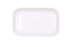 The rectangular white dish on white. The rectangular white dish isolated on white Stock Image