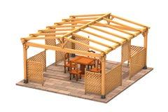 Rectangular wooden gazebo Royalty Free Stock Photography