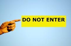 Rectangular yellow label DO NOT ENTER Stock Photography