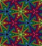 Rectangules的无缝的五颜六色和黑螺旋 透视错觉  几何多角形样式 适当 免版税库存图片
