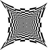 Rectanguless cóncavo blanco y negro que se amplía del centro Ilusión óptica de la perspectiva, del volumen y de la profundidad stock de ilustración