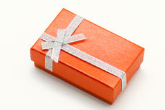 Rectegular orange gift box Stock Photos
