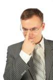 rectifie l'homme en verre de doigt photographie stock libre de droits