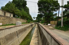 Rectilinear dry canal royalty free stock images