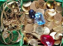 Rectángulo con joyería Foto de archivo libre de regalías
