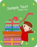 Rectángulo de la muchacha y de regalo Fotos de archivo libres de regalías