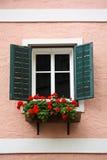 Rectángulo de la ventana y de la flor Fotos de archivo