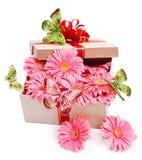 Rectángulo de regalo con las flores. Imagenes de archivo