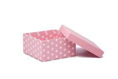 Rectángulo de regalo rosado isoalted en blanco Fotos de archivo