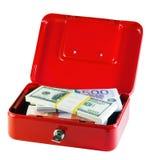Rectángulo del metal con los manojos de dinero Fotos de archivo libres de regalías