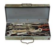 Rectángulo oxidado viejo con las herramientas Foto de archivo