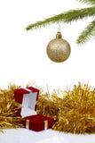 Rectángulo para los pendientes como regalo de la Navidad Fotografía de archivo