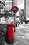 Rectángulo rojo británico del poste Fotografía de archivo libre de regalías
