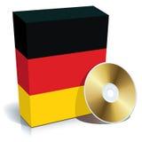 Rectángulo y CD alemanes del software Fotos de archivo libres de regalías