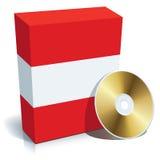Rectángulo y CD austríacos del software Fotos de archivo libres de regalías