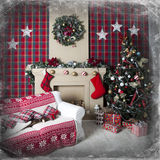 Rectángulos de regalo del árbol de navidad y de la Navidad Foto de archivo libre de regalías