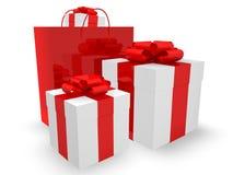 Rectángulos de regalo y bolso de compras Imágenes de archivo libres de regalías