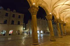 The Rector's Palace In Dubrovnik, Croatia. DUBROVNIK, CROATIA - MAY 16, 2013: Night Scene In Dubrovnik's Old Town, Croacia. On 16 May 2013 in Dubrovnik, Croatia Stock Photography
