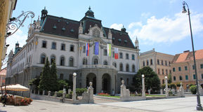 Rectoratebyggnad av universitetar av Ljubljana Royaltyfria Bilder