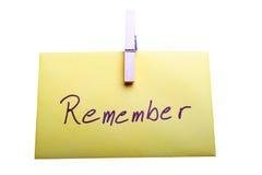 Recuerde Imagen de archivo libre de regalías
