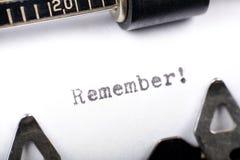 Recuerde Fotografía de archivo libre de regalías