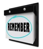 Recuerde - el calendario de pared Fotografía de archivo