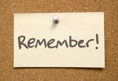 Recuerde la nota de post-it Foto de archivo