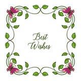 Recuerdos de la tarjeta de felicitaci?n del ejemplo del vector para los marcos de la flor de la hoja con las mariposas stock de ilustración