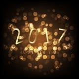 Recuerdos - tarjeta de felicitación de la Feliz Año Nuevo del estilo del oro, cubierta o fondo moderna abstracta, plantilla creat Fotografía de archivo libre de regalías