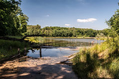 Recultivated landscape with lake, forest and blue sky with clouds near Orlova city. Recultivated landscape in coal mining area with lake, forest and blue sky stock photo