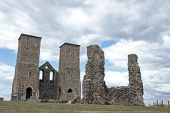 Reculver Ruins. An atmospheric picture of the Monastic Reculver church ruins in Kent. Picture is ideal to show location sights and features Stock Image