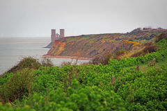 Reculver towers herne bay kent england. Photo of historic herne bay coastline showing Roman remains of Reculver Towers photo taken 29th march 2017 Stock Photo