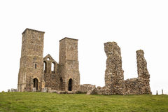 Reculver Towers, Kent. Reculver Towers the twin 12th-century towers of the ruined church which stand among the remains of an Roman 'Saxon Shore' fort and a Saxon Stock Images
