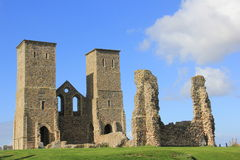 Reculver Towers and Roman Fort. Ruins of an old church and monastry located in Reculver, near Herne Bay, Kent, UK Stock Image