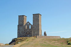 Reculver Twin Towers. This photo shows the Reculver twin towers, these towers are all that remain of an ancient church and is a real tourist magnet Stock Image