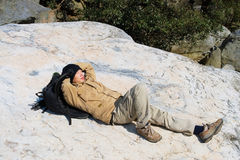 Recumbent hiker Royalty Free Stock Image