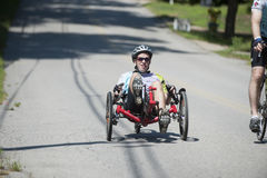 Recumbent tricycle rider Stock Photos