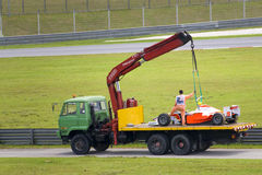 Recuperação do carro de corridas Fotografia de Stock Royalty Free