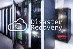 Recuperación de catástrofes Prevención de la pérdida de datos Sitio del servidor en fondo fotografía de archivo