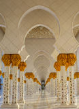 Recurring oriental archways in Abu Dhabi Grand Mosque Stock Photography