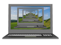 Recursive 3D  image of laptops. Stock Photo