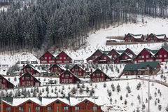 Recurso do sri de Bukovel nas montanhas Carpathian em Ucrânia Foto horizontal Fotos de Stock Royalty Free