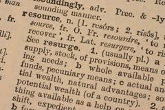 Recurso - palabra del asunto imagen de archivo libre de regalías