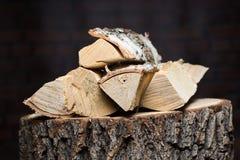 Recurso renovable de madera del fuego de una energía Imágenes de archivo libres de regalías